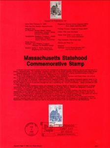 US SP805 Massachusetts Statehood 2341 Souvenir Page FDC