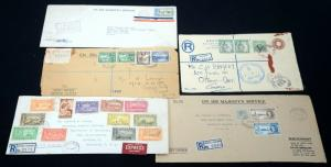 BAHAMAS Jamaica British Guiana Colonies Air Mail REGISTERED Cover Postage to USA