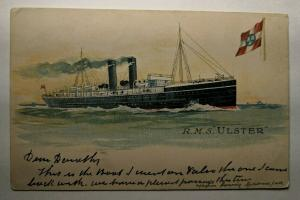 Vintage 1906 R M S Ulster Ship to England Picture Postcard Cover