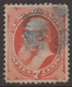 USA 1871 Sc#138 7c Vermillion Stanton with Grill VFU