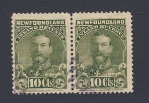 2x Newfoundland Revenue Stamps Pair of NFR17-10c Guide Value = $25.00
