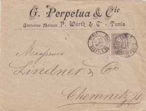 Tunisia 25c Coat of Arms 1896 Tunis, Regence de Tunis to Chemnitz, Germany.  ...