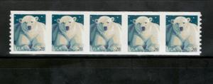 4389 Polar Bear Strip Of 5 Mint/nh (Free shipping offer)