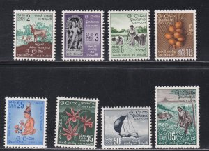 Ceylon # 346-353, Pictorial Issues, Hinged, 1/3 Cat.