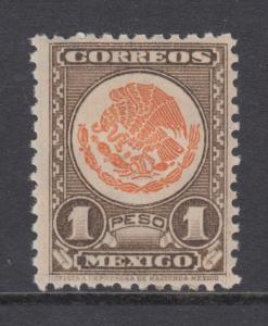 Mexico Sc 850 MLH. 1947 1p dark brown & orange Coat of Arms, F-VF