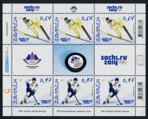 Slovenia 1027 Sheet MNH Winter Olympics, Sochi, Ice Hockey, Ski Jumping