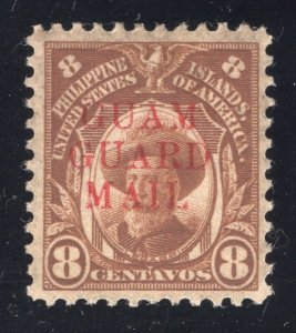 Guam# M10 - 8 Cents, Orange Brown - Guam Guard Mail - Unused  - O.G. - Hinged