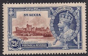St Lucia 1935  KGV 2 1/2d Brown & Deep Blue Silver Jubilee MM SG 111( E173 )