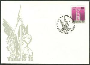 LITHUANIA Like Sc#368 First Day Cover of First Issue Stationery