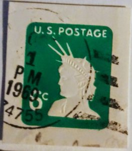 USA U551 – 6c light green 1968 used cut square 1969 dated cancel