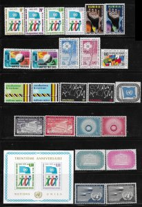 12287  United Nations 25 different mnh issues  F-VF  2017 SCV $???