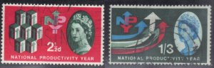 GREAT BRITAIN SCOTT# 387+389  USED 2.5p+1sh/3p  1962  PRODUCTIVITY SEE SCAN