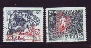 Sweden Sc1352-3 1981 Europa Troll Lady stamps used