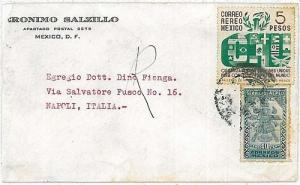 13316  --- ONU FLAGS - MEXICO POSTAL HISTORY: COVER to ITALY 1956