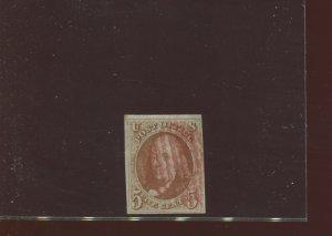 Scott 1 Franklin Imperf Used Stamp w/Graded PF Cert VF 80 (Stock 1-222)