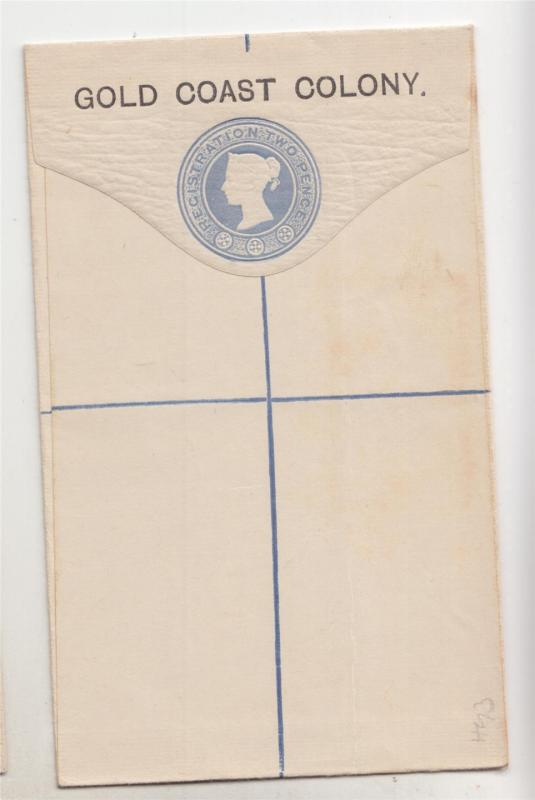 GOLD COAST, Reg. Letter Envelope on GB, 1892 2d. Blue, small size, unused
