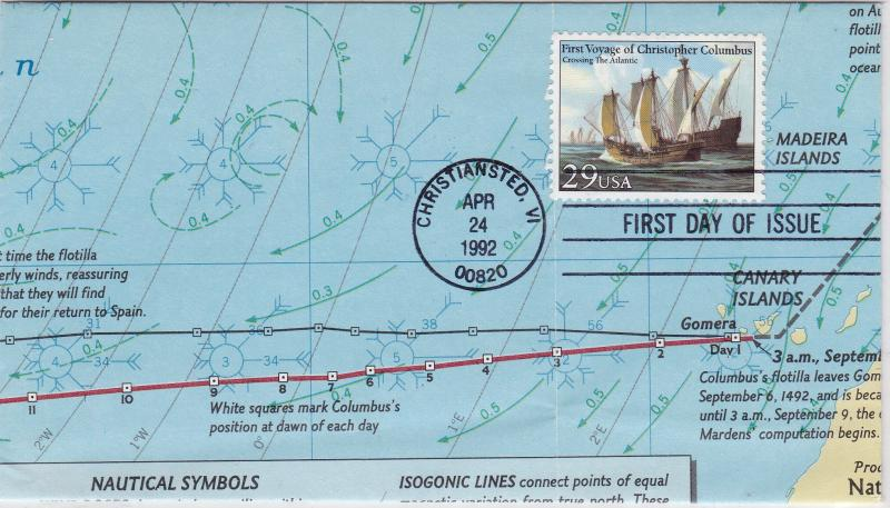 United States 1992 Voyage of Columbus Hand Made/Folded MAP Cover  FDC