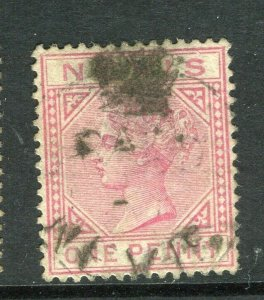 ST. KITTS; 1882 classic QV Crown CA issue fine used 1d. value