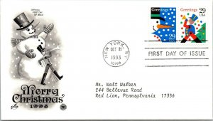Merry Christmas Snowman First Day Cover 1993 cachet