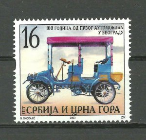 Serbia and Montenegro 2003  100 years of the first car set MNH