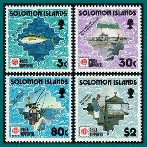 Solomon Islands 1991 Tuna Fishing, Phila Nippon, MNH #703-706,SG708-SG711