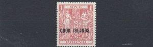 COOK ISLANDS  1947  S G 134    £1  PINK VLMH    CAT £75