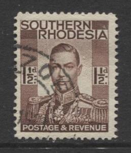 Southern Rhodesia- Scott 44 - KGVI - Definitive -1937 -FU- Single 1.1/2d Stamp