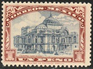 MEXICO 649, $1Peso PALACE OF FINE ARTS. Mint, NH. F-VF.