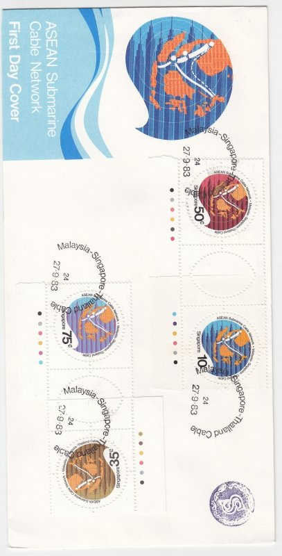 1983, Singapore: ASEAN Submarine Cable Network, FDC (S18890)