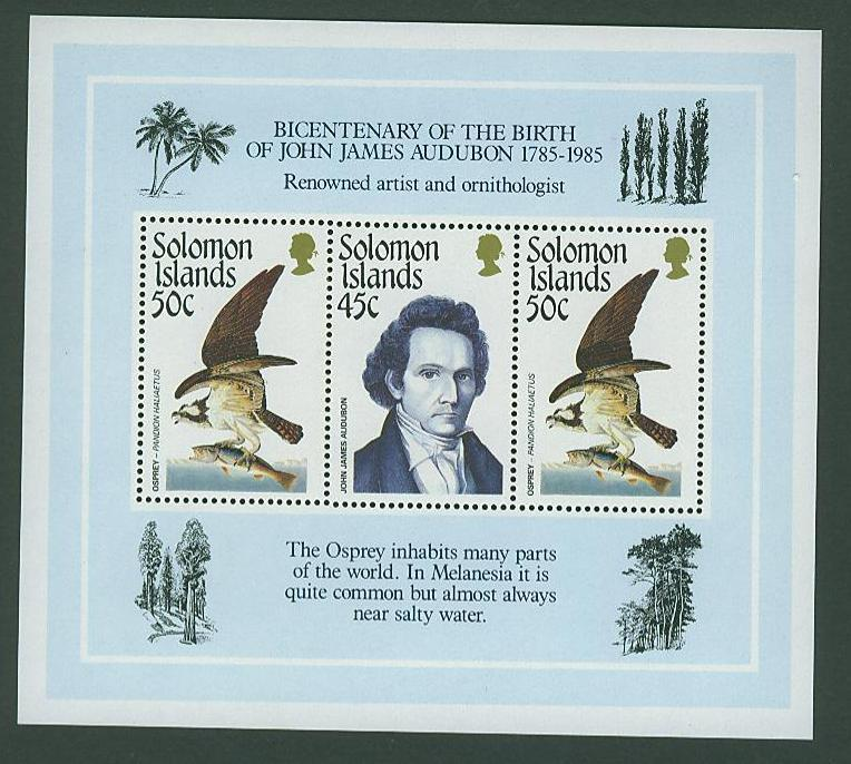 Solomon Isl SC# 556 John James Audubon & Birds, MNH