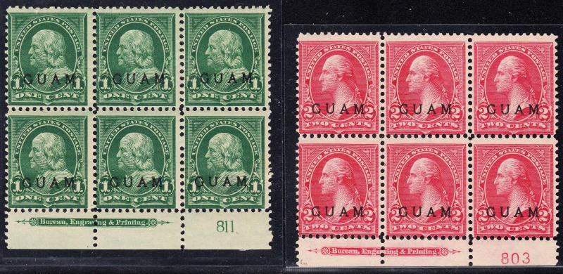 GUAM #1 & 2 PL #s W/ IMPT BLOCKS OF 6 F-VF TROPICAL GUM 1¢ UNUSED ON 2¢ BT5790