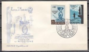 San Marino, Scott cat. 569-570. Stamp Fair issue on a First day cover.