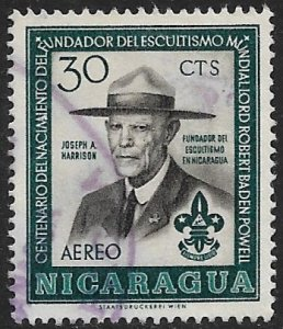 NICARAGUA 1957 30c LORD BADEN-POWELL BOY SCOUT Airmail Sc C382 MNH