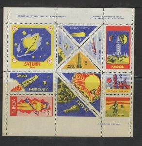Canada - 1962 Interplanetary Postal Essays sheet of 12 VFMNH.