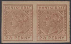 BC MONTSERRAT 1880 QV Sc Type A2 2 1/2 Penny RED BROWN IMPERF PAIR UNWTMKD MNH