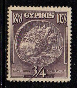 Cyprus Sc 114 1928 3/4 piastre Silver coin stamp used