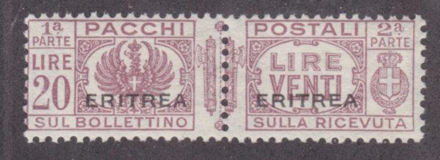 Eritrea Sc Q31 MLH. 1936 20l lilac brown Parcel Post of Italy w/ ERITREA ovpt