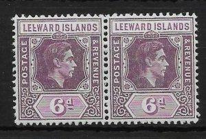 LEEWARD ISLANDS SG109ab 1942 6d DP DULL PURPLE & BR.PURPLE BROKEN E VAR MTD MINT