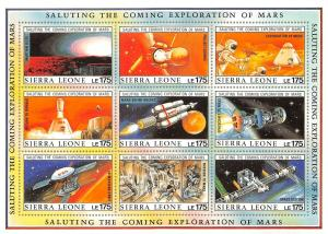 Lot of 37 Sierra Leon MNH Mint Space Stamps on Souvenir Sheets #141290 X