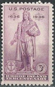 US 777 (mlh) 3¢ Rhode Island tercentenary - Roger Williams (1936)