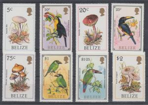 Belize Sc 782/850 MNH. 1985 Royal Visit + 1986 Birds & Fungi, 2 complete sets VF