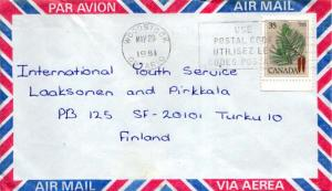 Canada 35c White Pine Trees 1981 Woodstock, Ontario Airmail to Turku, Finland.