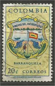 COLOMBIA, 1961, used 20c Arms of Barranquilla Scott 734