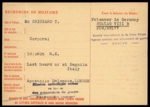 UK 1944 Italy DAGNALIA Germany POW Camp OFLAG VII Red Cross Cover Catholic 89657