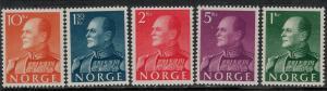 Norway SC 370-374 MNH 1958 SCV$ 91.00 Set