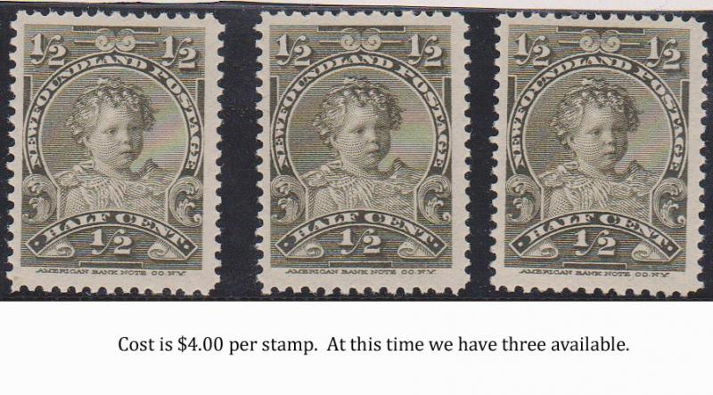 Newfoundland - 1/2c King Edward VIII As A Child #76 mint We Offer One Stamp.