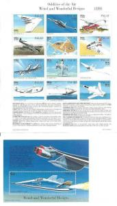 Palau Aircraft Designs 2 12 Stamp Sheets & 2 S/S #403-6 16D-007