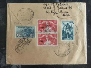 1936 France Airmail COver to USA # B10 Pair B42