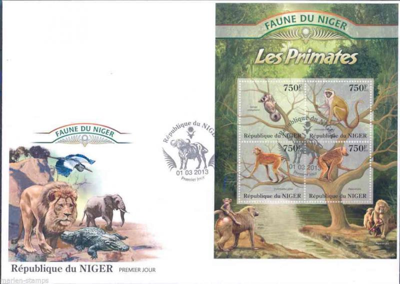 FAUNE OF NIGER 2013 PRIMATES SHEET  FIRST DAY COVER