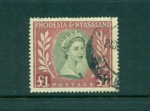 Rhodesia & Nyasaland - Sc# 155. 1954 QEII £1 Hi Val Used. $27.50.